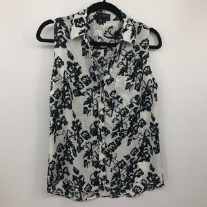 The Limited Ashton Career Blouse Floral Top Sheer